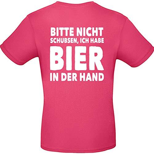 Shirt-Panda Herren T-Shirt · Bitte Nicht schubsen, ich Habe Bier in der Hand · Mallorca Fun-Shirt Party Saufen Mannschaftsfahrt Unisex (Druck Rücken) · Pink (Druck Weiß) M