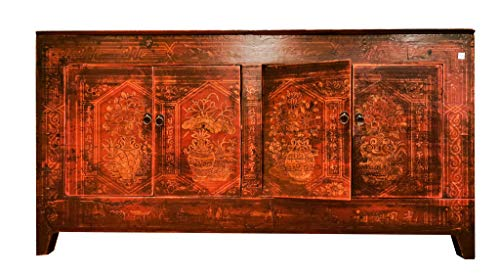 Fine Asianliving Buffet Chinois Commode Chinois Meubles Chinois Armoire de Mariage Chinoise Style Rangement Chinois Mobilier Oriental Armoire Orientale Asiatique Mandarin Pekin 153 x 79 x 45