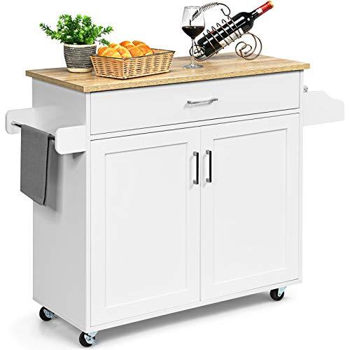GOPLUS Servierwagen mit Schublade & Schrank, Rollbarer Küchenwagen, Beistellwagen mit Verstellbarer Trennwand, 2 Räder mit Bremse, aus Holz, im Landhausstil, für Küche Restaurant