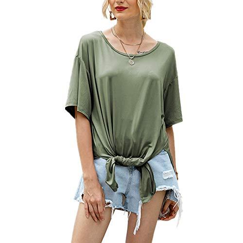 x8jdieu3 Sommer lässig Langer Rundhalsausschnitt Einfarbig Lose Collage Stitching Kurzarm Seite Split Tops Weibliches T-Shirt