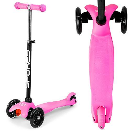 Patinete infantil de 3 ruedas, manillar ajustable en altura, para niños a partir de 2 años y con un peso inferior a 20 kg. Los rodillos se iluminan durante la conducción.