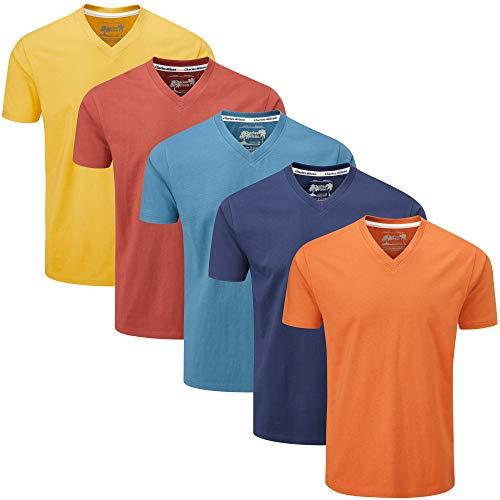 Charles Wilson Paquete 5 Camisetas Cuello Pico Lisas (Large, Orange Sunset)