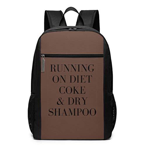 AOOEDM Laufen auf Diät Cola und Trockenshampoo Rucksack 17 Zoll Laptop-Taschen Schule Bookbag