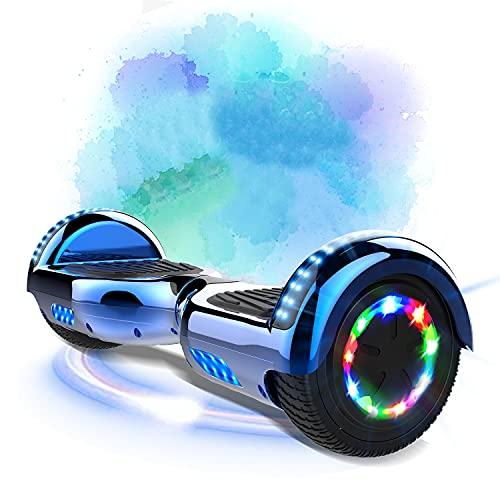 MARKBOARD Hoverboard da 6,5 Pollici per Bambini e Adulti, Smart Scooter Auto Bilanciamento Bluetooth Elettrico e LED Multicolor E-Skateboard Auto Balance (Blue)