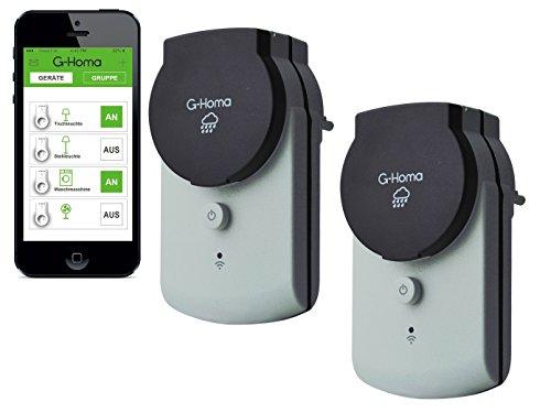 4smile.shop Wifi Schalt-Steckdose mit App-Steuerung für Aussenbereich IP44, 2 Stück in grau
