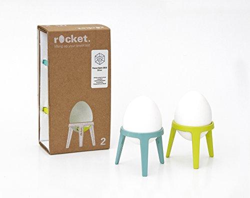 Brainstream Rocket 2er-Geschenkset, Eierbecher aus Metall, Limette/türkis