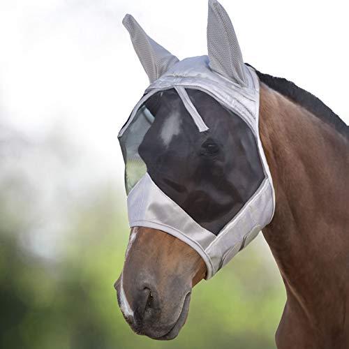 Harrison Howard CareMaster Fliegenmaske UV-Schutz mit Ohrenschutz Silber/Schwarz Vollblut (M)