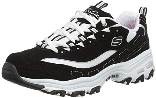 Skechers Sport Women's D'Lites Memory Foam Lace-up Sneaker,Biggest Fan Black/White,7 M US