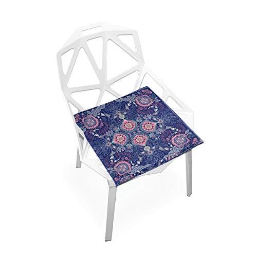 Cojín de espuma viscoelástica para sillas de cocina, suave, lavable, antipolvo, silla de comedor, cojín de 40,6 x 40,6 cm (mandala flor) 2030135