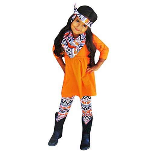 Conjunto De Halloween NiñA 4PC Vestido Nuevo Sudaderas De Deporte Camiseta Camisa De Fondo+Pantalones+Bufanda+Banda para El Cabello-Ropa De Una Pieza-Regalo De CumpleañOs(A-Naranja,6-7 años/130)