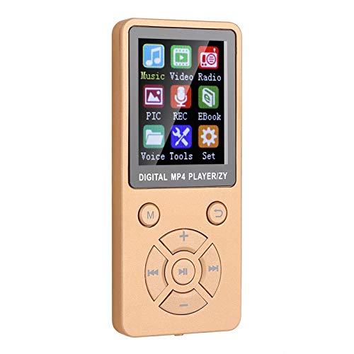 Socobeta Reproductores de audio digital MP3, diseño de siete botones MP4 reproductor de música compatible con tarjeta de memoria 32G Cuerpo material mate para radio de vídeo (oro rosa)