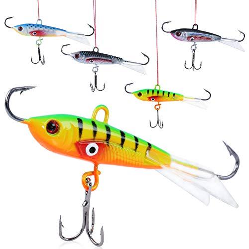 Sougayilang Ice Fishing Lures with 3 Sharp Hooks Winter Lifelike Fishing Baits Ice Jigging Lures Kit for Bass Walleye