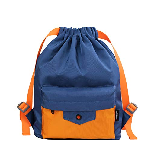 Gym Drawstring Backpack String Bag Men Women Workout Dance Sack Pack Sackpack (Kids Blue Orange)