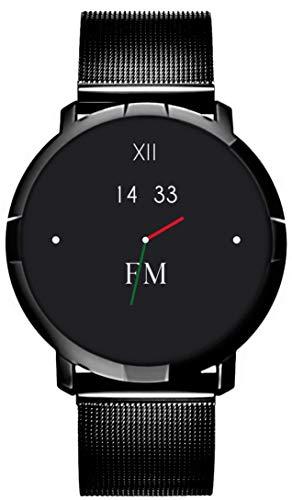 Smartwatch FLORENCE MARLEN FM1R | Disegnato In Italia | 2 CINTURINI | Uomo-Donna Maglia Milanese Porto Cervo Nera |Orologio,Water-Resistant|Cardiofrequenzimetro,Contapassi,Notifiche|IOS&Android