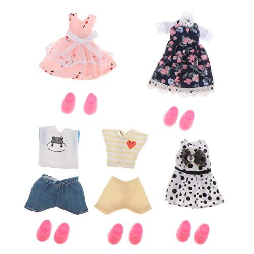 LOVIVER 5Pcs Puppenkleidung Puppenkleid Anzug Set Bekleidung für Puppe - A, Stil 1
