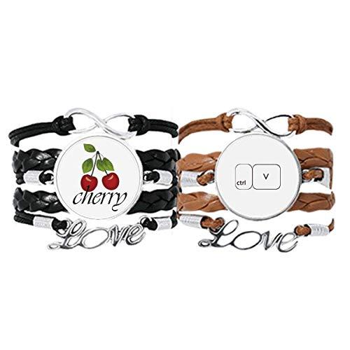 Bestchong Teclado Symbol ctrl V Art Deco regalo pulsera de moda correa de cuero cuerda de cerezo amor pulsera doble juego