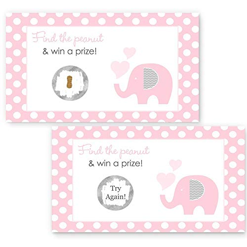Pink Elephant Scratch-Off Game Girls Baby Shower Polka-Dots with Grey 28pc. Set