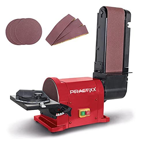 Practixx Band- und Tellerschleifer PX-BTS-450 | 450W | 2980 min-1 | 150 mm Ø Schleifteller | Bandlänge 915mm | Neigbarer Arbeitstisch | Queranschlag | inkl. 6-teiliges Schleifpapier Set