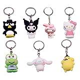Kuromi Melody Keychain Pom Pom Purin Keys Doll Toys 7 Pcs Anime Figurer Pendant Creative Gifts