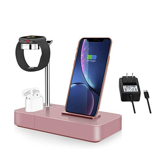 Wireless Charger Stand Rose Gold 3 in 1 Phone Qi Watch Dock 7.5W (Including AC Power Adapter) (Rose Gold)