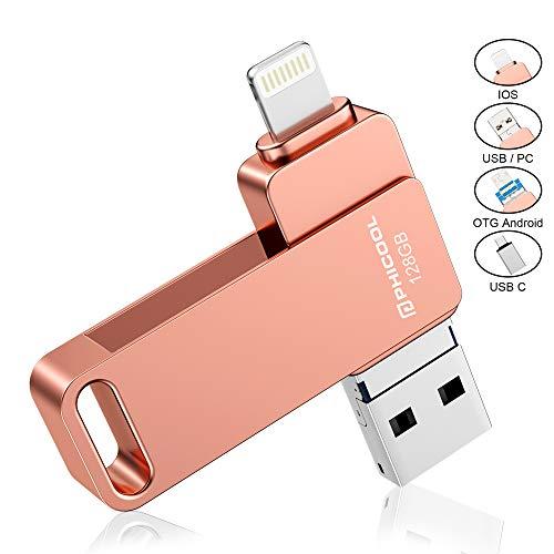 USB Stick für iPhone 128GB USB Stick Handy OTG Android USB Stick Smartphone PHICOOL USB Stick Speicher Memory Expansion External für iPhone für Samsung für Huawei IOS OTG Laptop Tablet PC -128GB Pink