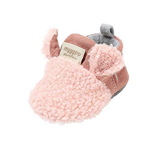 Blaward Baby Mädchen Jungen Einstellbare Hausschuhe Wolle Slipper Kleine Mokassins Anti-Slip Weiche Sohle Warme Winter Krippe Booties Schuhe 0-18Monate