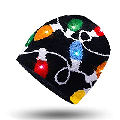 Luwint LED Glow Blink Knit Beanie Hat - Light Up Costume Show Prop Toy for Boys Girls Birthday Party Halloween Christmas with 2 More Batteries (Colorful) from Luwint