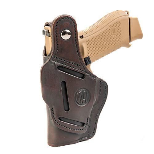 1791 GUNLEATHER Leather Gun Holster - 3 Way OWB Right Handed Thumb Break Holster - Fits Glock 17, 19, Ruger SR9 SR22, Sig P225, Springfield XDS, SW Shield MP9 MP40, Walther CCP, P22, Taurus G2 - Brown
