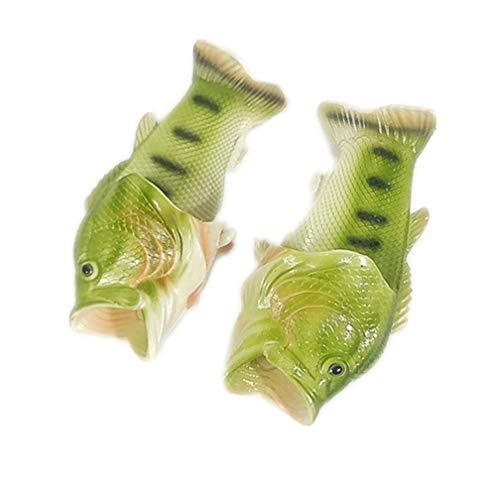 LJSLYJ Grün Sommer Strand Pantoffeln Kreative Simulation Fisch Hausschuhe Eltern-Kind Paar Pantoffeln Sandalen Gift für Damen Herren Geburtstagsgeschen (42/43 EU)