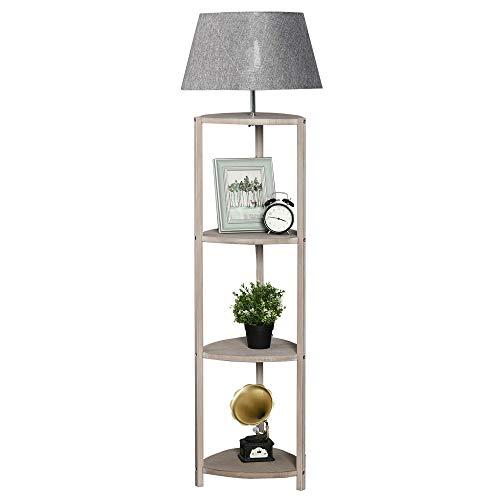 HOMCOM Stehlampe Ablage Schlafzimmer Standleuchte Stehleuchte Lampenschirm 40 W Skandinavisch Holz + Leinen grau 46 x 46 x 158,5 cm