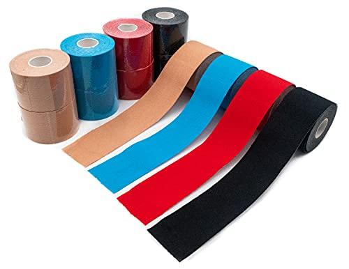 Set de 12 cintas kinesiológicas de colores axion | Vendaje resistente al agua y al sudor | Cinta adhesiva deportiva para un soporte muscular para los ejercicios
