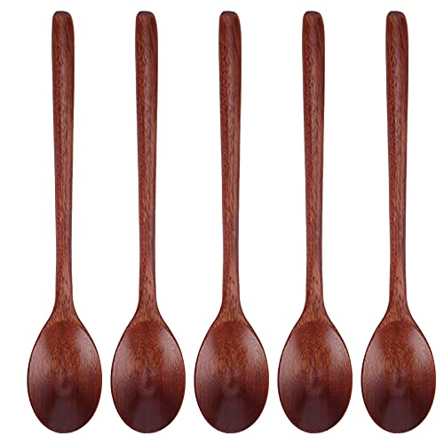 Cuchara, 5 piezas, portátil, bien diseñado, mango largo, madera natural, reutilizable, vajilla de madera, para picnic, barbacoa(Rojo marrón)