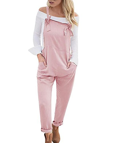 Mujer Baggy Peto Chicas Mono Largo Pantalones Harem Anchos Talla Grande Casual Moda Bolsillos Tiras Fiesta Rosa ES 48