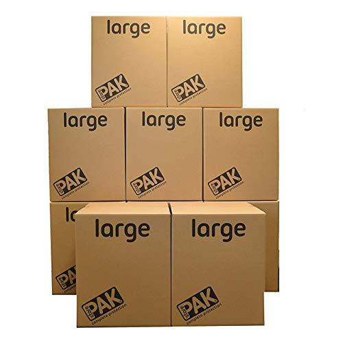 StorePAK Große Aufbewahrungsboxen - Archivkartons mit Griffen - 116 Liter - 100% recycelbar - H55 x B46 x T46 cm (10 Stück) braun