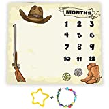 Cowboy Theme Baby Monthly Milestone Blanket, 48x40in Soft Flannel, Gun Boots Hats Backgrounds, Newborn Mom Gifts, Twins Baby Shower Age Growth Tracker with Bonus Maker BTZYFS17