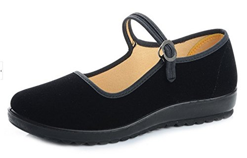 staychicfashion Black Cotton Mary Jane Dance Flat Old Beijing Cloth Walking Shoes for Women(8, Black)