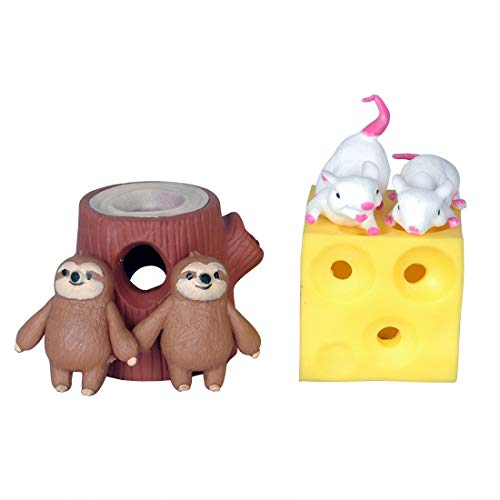WEY&FLY Mouse and Cheese Toy Sloth Hide and Seek Stress Relief Toy Latex Toy Safety Certification