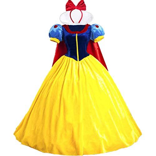 KUFV Women Snow White Princess Costume with Headband for Teens & Adult S-XXL