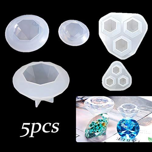 iSuperb 5 pcs Moules en Résine Moules Diamant Moulle Silicone Diamond Resin Molds pour Bijoux Artisanat DIY (5 Moules)