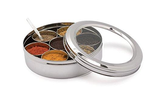 Sahishnu Online and Marketing Stainless Steel Transparent Masala Box/Spice Box/Masala Dabba/Spice Container