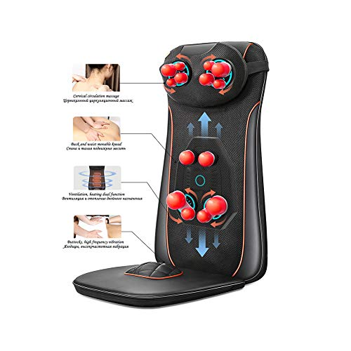 NZYMD Shiatsu Back Massager Chair Pad with Heat & Vibrating Seat Massage Cushion Shoulder Full Back Hips Muscle Relief for Best Gift for Family