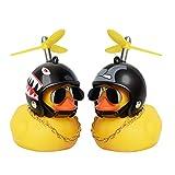 PiAEK Gummiente Spielzeug, Ente Auto Armaturenbrett Dekorationen, Gummi Ente Auto Ornamente, Coole Ente mit Propeller/Helm/Sonnenbrille/Goldkette(A)