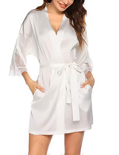 Balancora Kimono Damen Morgenmantel Kurz Sexy Satin Morgenmantel Bride Nachtwäsche Weiß Schlafmantel Morgenrock Frauen mit Taschen