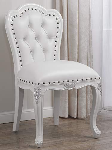 SIMONE GUARRACINO LUXURY DESIGN Chaise Josephine Style Baroque Moderne Chaise Blanc laqué et Feuille Argent Similicuir Blanc Boutons Crystal SW