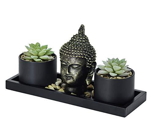 Buddha Statue & Succulent Zen Garden Set- Buddha Head Statue w/ Wooden Display Tray & Stones  Buddha Decor For Home Decor. Beautiful & Peaceful. Great Meditation Gifts.