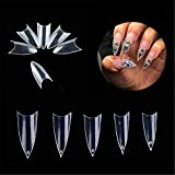 Buqikma 500 Pcs Stiletto False Nails Sharp Ending False Acrylic Nail Art Tips 10 Sizes With Bag For Nail Salons and DIY Nail Art at Home (Clear)
