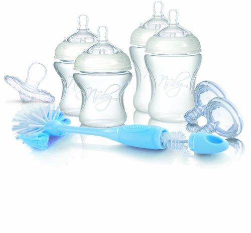 Nuby SoftFlex NTNV3-67424 - Set para recién nacido (incluye 2 biberones de 150 ml, 2 biberones de 240 ml, 4 tetinas de flujo lento, 2 tetinas de flujo medio, 1 tetina ortodóntica y 1 escobilla para biberones)