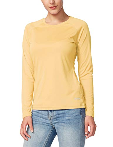 BALEAF Women's UPF 50+ Sun Protection T-Shirt SPF Long/Short Sleeve Dri Fit Lightweight Shirt Outdoor Hiking Yellow Size M