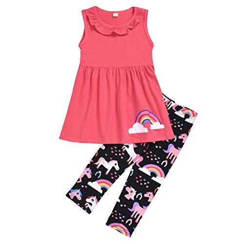 Haokaini 2 stks/partij Meisjes Mouwloos Top Vest Rok Broek Regenboog Print Outfits Kleding Set voor Kinderen