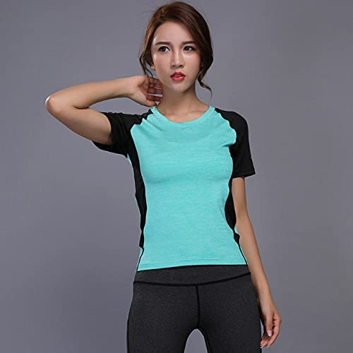 AAJIA,Ropa Deportiva,Mujeres Sport Training Camisas Cortas Ropa de Yoga Running Fitness Workout T-Shirt Fitness Secado rápido Mujer Gym Sports Tops, Verde, S